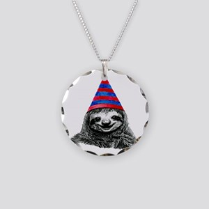 Party Sloth Necklace Circle Charm