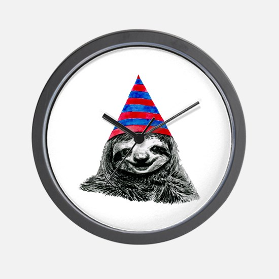 Party Sloth Wall Clock
