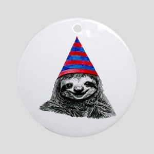 Party Sloth Round Ornament