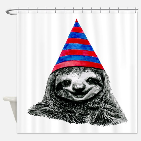 Party Sloth Shower Curtain