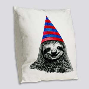 Party Sloth Burlap Throw Pillow