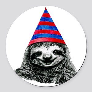 Party Sloth Round Car Magnet
