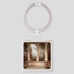 Gothic Marble Columns Square Keychain