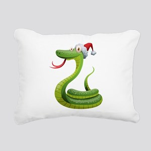 Christmas snake cartoon Rectangular Canvas Pillow