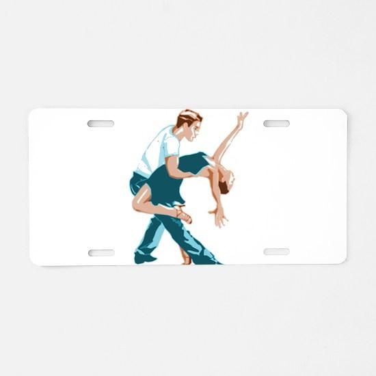 Salsa Dancers in two-tone c Aluminum License Plate