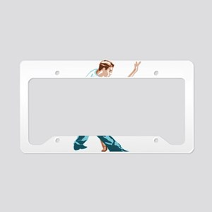 Salsa Dancers in two-tone col License Plate Holder