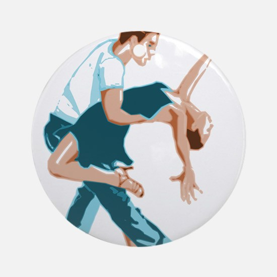 Salsa Dancers in two-tone color Round Ornament
