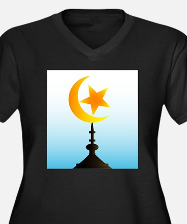 Crescent Moon and Star With Sky Plus Size T-Shirt