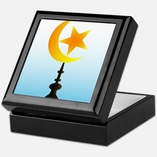 Crescent Moon and Star With Sky Keepsake Box