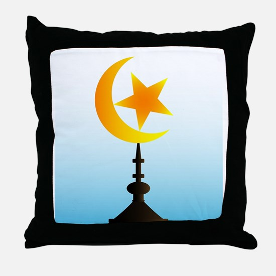 Crescent Moon and Star With Sky Throw Pillow