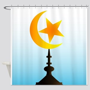 Crescent Moon and Star With Sky Shower Curtain