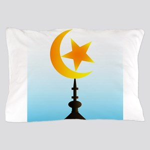 Crescent Moon and Star With Sky Pillow Case