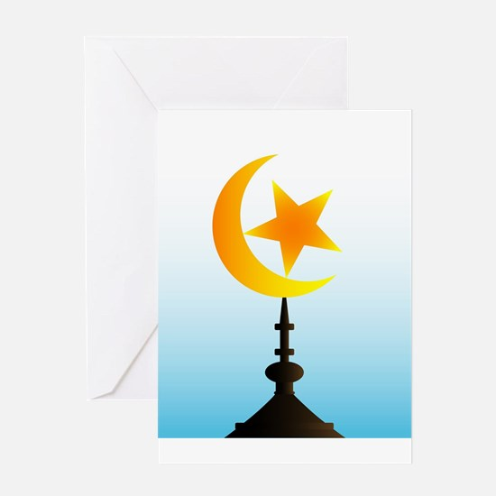 Crescent Moon and Star With Sky Greeting Cards