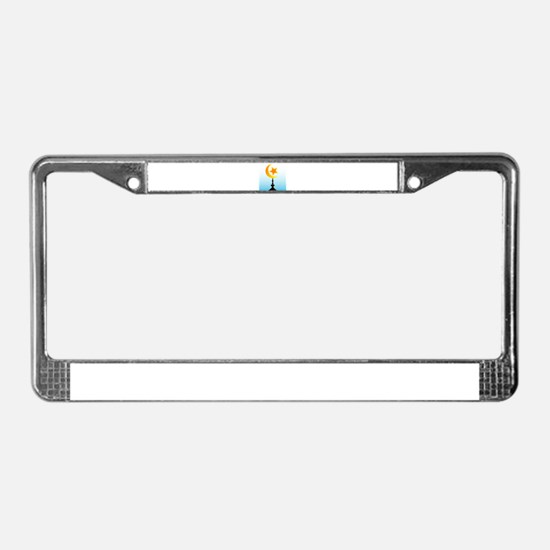 Crescent Moon and Star With Sk License Plate Frame