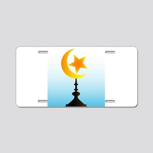 Crescent Moon and Star With Aluminum License Plate
