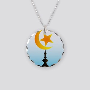 Crescent Moon and Star With Necklace Circle Charm