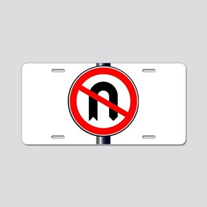No U Turn Aluminum License Plate