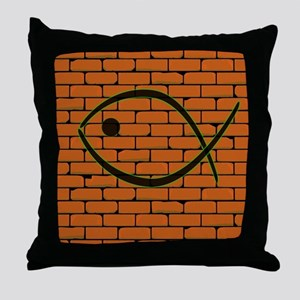 Christian Fish Graffiti Throw Pillow