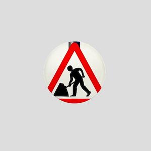 Men at Work Traffic Sign Mini Button