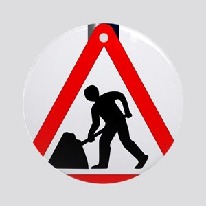 Men at Work Traffic Sign Round Ornament