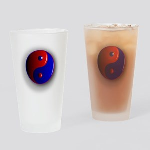 Yin and Yang, Red and Blue. Drinking Glass
