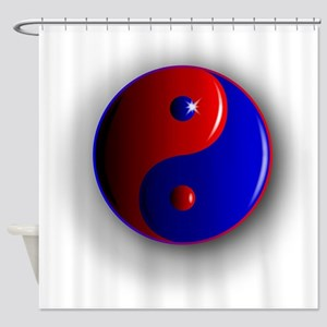 Yin and Yang, Red and Blue. Shower Curtain