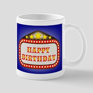 Happy Birthday Movie Theatre Marquee Mugs