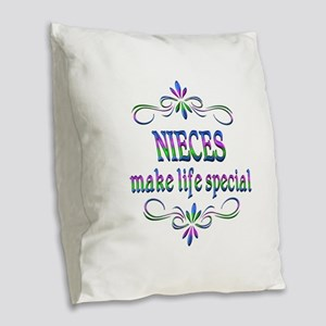 Nieces Make Life Special Burlap Throw Pillow