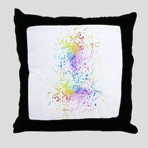 Rainbow color splatter paint Throw Pillow
