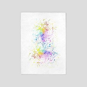 Rainbow Color Splatter Paint 5'x7'area Rug
