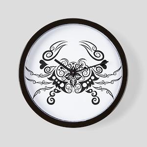 Vivid hand drawn crab decoration patter Wall Clock