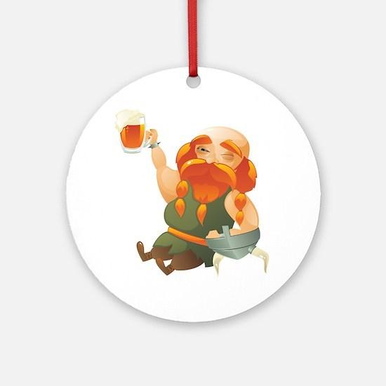 Vikings enjoying a beer Round Ornament