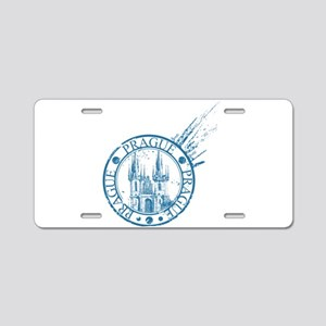 Prague travel stamp Aluminum License Plate