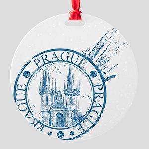 Prague travel stamp Round Ornament