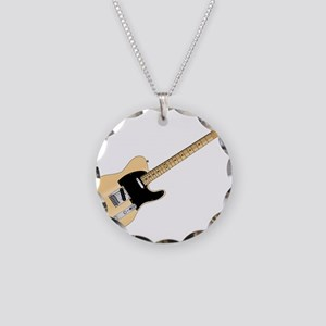 Rock Guitar Necklace Circle Charm