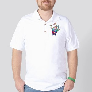 Clown playing with toy birds Golf Shirt