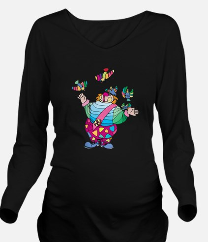 Clown playing with t Long Sleeve Maternity T-Shirt