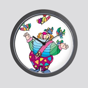 Clown playing with toy birds Wall Clock