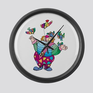 Clown playing with toy birds Large Wall Clock