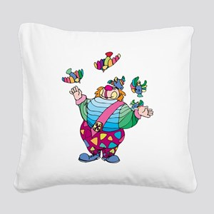 Clown playing with toy birds Square Canvas Pillow