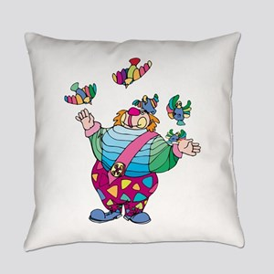 Clown playing with toy birds Everyday Pillow