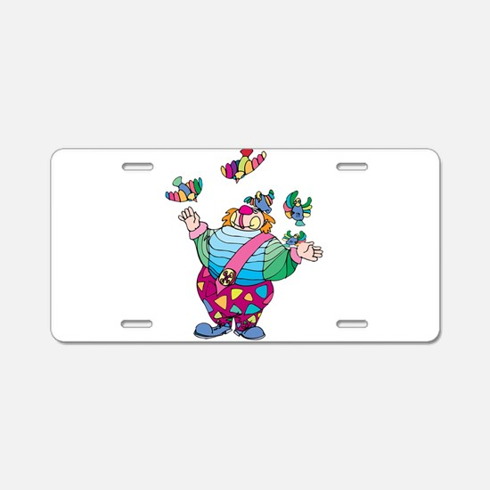Clown playing with toy bird Aluminum License Plate