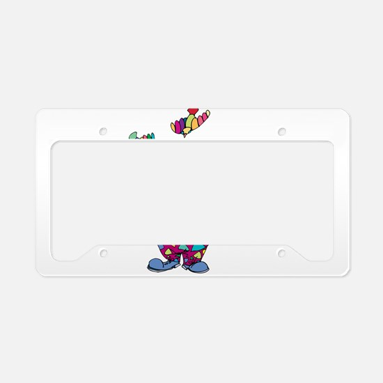 Clown playing with toy birds License Plate Holder