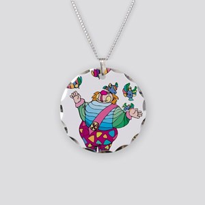 Clown playing with toy birds Necklace Circle Charm