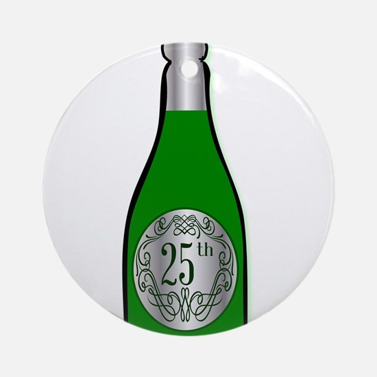 25th Celebration Wine Bottle Round Ornament