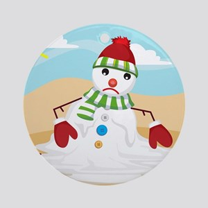 xmas in july snowman Round Ornament