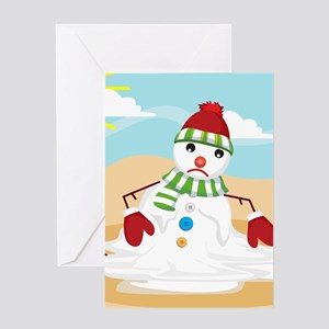 xmas in july snowman Greeting Cards