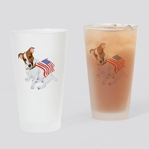 Patriotic Jack Russell Terrier Drinking Glass