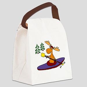 Kayaking Moose Canvas Lunch Bag