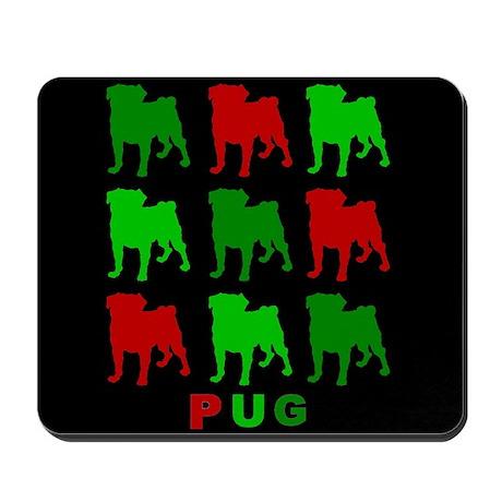 Chirstmas Puggies Black Bg Mousepad